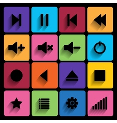 Set of media player buttons in flat design style vector image