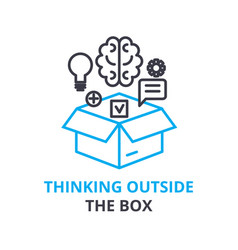 Thinking outside the box concept outline icon vector