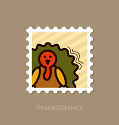 turkey stamp harvest thanksgiving vector image