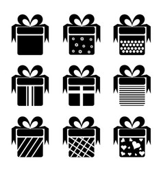 black gift box icons vector image