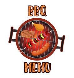 grill menu card design template vector image
