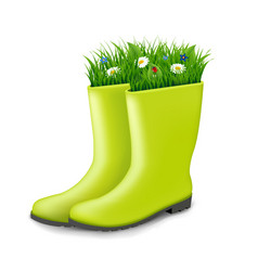 Gumboots with grass vector