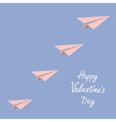 Happy Valentines Day Love card Origami paper plane vector image