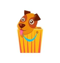 Puppy Hiding In Shopping Bag vector image