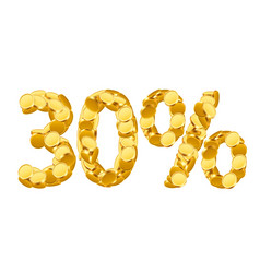30 percent price cut off golden discount coins vector image