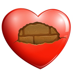 A broken heart with a stonewall vector image