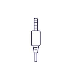 Audio cable jack connector line icon vector