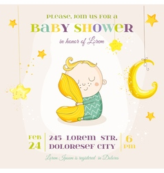 Baby boy sleeping with a pillow - shower vector