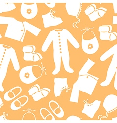 Baby clothes pattern orange vector