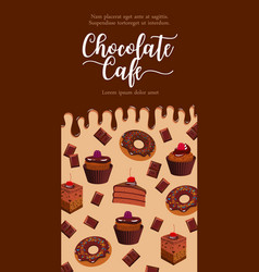 Banner for chocolate desserts cafe vector