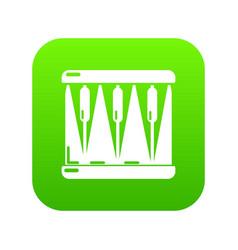 Bass drum icon green vector