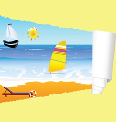 Beach paradise with tearing paper vector