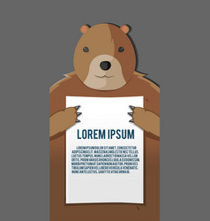 Bear hold paper background template vector