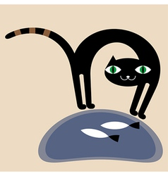black cat and fishes vector image