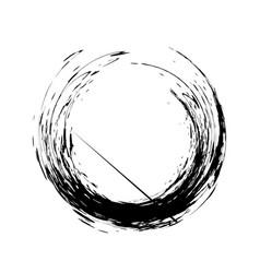 brush paint grunge circle line vector image