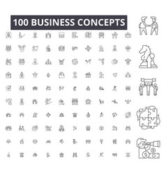 business concepts editable line icons 100 vector image