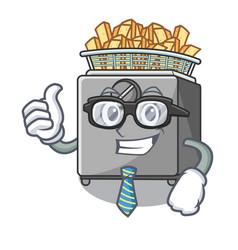 Businessman character deep fryer on restaurant vector