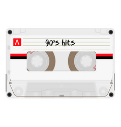 cassette with retro label as vintage object for vector image