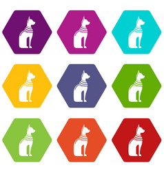 cat egypt icons set 9 vector image