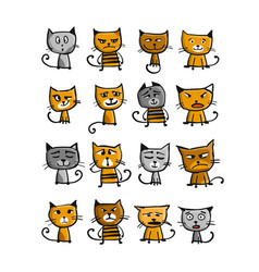 cats collection sketch for your design vector image