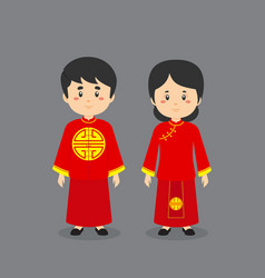 Couple character wearing chinese traditional vector
