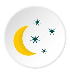 Crescent and star icon flat style vector image