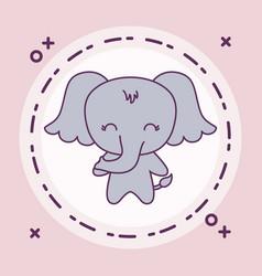 Cute elephant animal with frame circular vector
