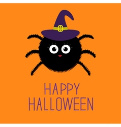 Cute fluffy spider in witch hat Happy Halloween vector