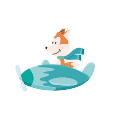 Cute fox flying an airplane with scarf fluttering vector