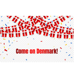 denmark garland flag with confetti on transparent vector image