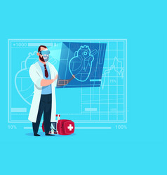 Doctor cardiologist examining digital heart wear vector