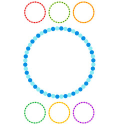 dotted circle clip-art in seven colors dotted vector image