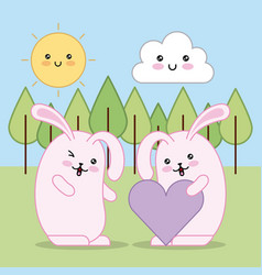easter day kawaii vector image