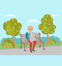 Elderly sitting on the park bench vector