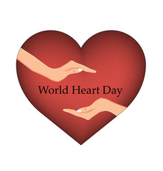 emblem of world heart day with image of red heart vector image