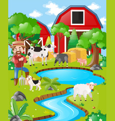 farm scene with farmer and barn vector image