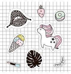 fashion patches set lipsunicornpalm branchice vector image