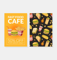 fast food card template menu or advertising vector image