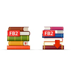 Fb2 books stacks icons vector