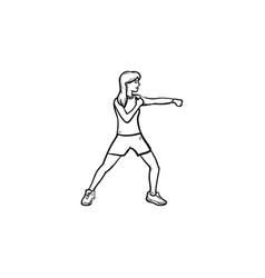 female boxer hand drawn outline doodle icon vector image