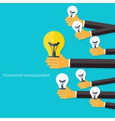 Finding the main idea Teamwork management concept vector