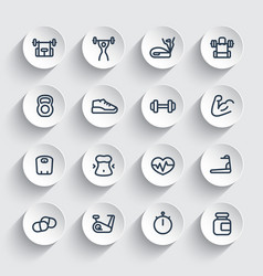 fitness and gym training icons set vector image