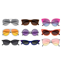 Flat set of different types sunglasses vector