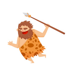Funny stone age prehistoric man running with spear vector