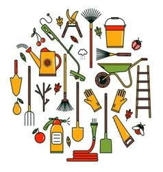 Garden tools icons vector
