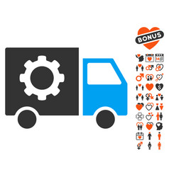 gear tools delivery car icon with love bonus vector image