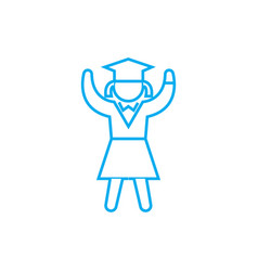 girl student linear icon concept girl student vector image