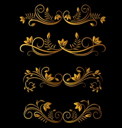 Golden floral elements vector