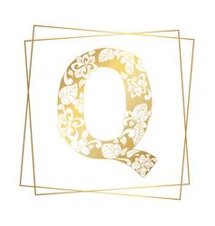 golden ornamental alphabet letter q font on white vector image