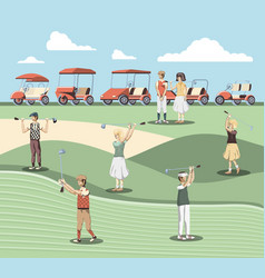 golf players people in the course vector image